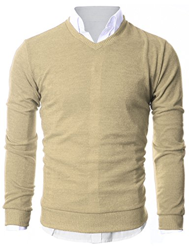 Ohoo Mens Slim Fit Light Weight V-Neck Pullover Sweater/DCP015-BEIGE-L ()