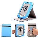 Mulbess - Nook GlowLight 4th Stand Case Cover - Leather Case Cover with Elastic Hand Strap for Nook GlowLight 4th (NOT fit NOOK Simple Touch with GlowLight NOOK 3rd Gen or NOOK Simple Touch NOOK 2nd Gen) Color Blue