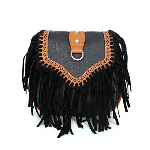 Mujer Europa Y Los Estados Unidos Moda Satchel Borlas Pequeño Paquete Nuevo Mini Bolsas De Hombro Señoras Temperamento De Señoras Bolsa Black