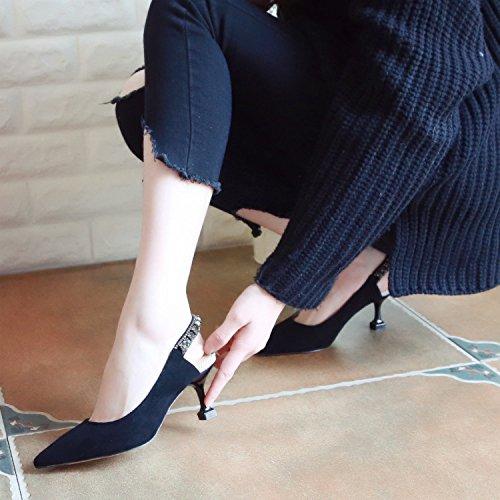 ZHUDJ Feder Fein Heels, High Heels, High Heels, Flach Flache Damenschuhe, Leer Wasser Bohren black