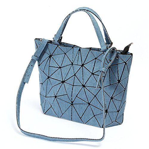 Bucket Washed A Ladies Bag Handbag Geometric Crossbody Women Blue Women Bag Denim Shoulder For Tote Bags wqTw7r