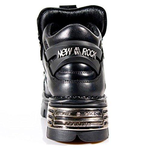 NEWROCK New Rock 110-S1 Botas góticas de cuero con tachas de cuero negro metálico real