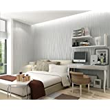 3D 58-Square Feet Non-woven Sliver White Flocking Plain Stripe Modern Fashion Wallpaper Anti-insect Wallcoverings Bed room