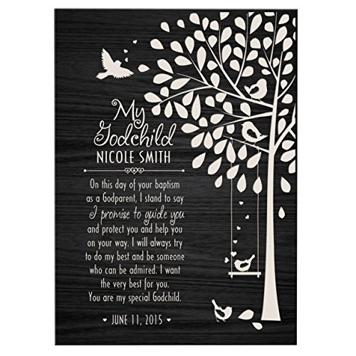 LifeSong Milestones Personalized Baptism Gifts for Girls and Boys 1st holy communion Ideas for Godchildren Christening Gift Wall plaque (6x8, Black) ()