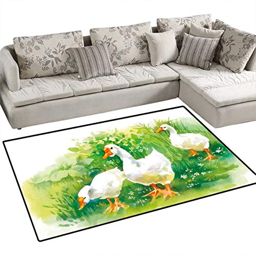(Rubber Duck Bath Mats for Floors Goose in Farm Lake Plants Grass Reeds Flowers Pond Animals Geese Feathers Door Mat Indoors Bathroom Mats Non Slip 3'x5' Green and White)