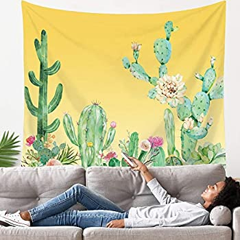 LANG XUAN Yellow Cactus Tapestry Flower Wall Tapestry Plant Art Wall Tapestry Cute Decor Wall Hanging for Room (Yellow Cactus, 130X150CM S:51X59inch)