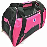 IrisPets Pet Airline Travel Approved Airport Pet Carrier, Soft Sided Portable Folding Under Seat Air Travel Pet Carriers Bag for Small Puppy/Cats Small Animals - Pink
