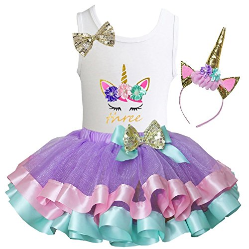Kirei Sui Girls Lavender Pastel Satin Trimmed Tutu Birthday Unicorn S Three]()