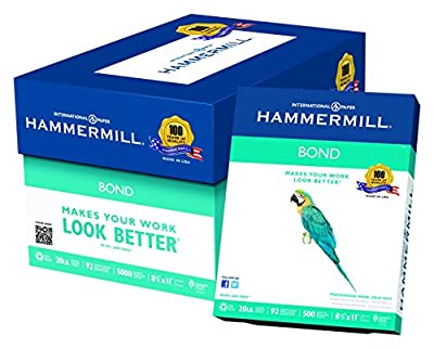 Hammermill Paper, Bond 30% Recycled, 24lb, 8.5 x 11, Letter, 92 Bright, 5000 Sheets / 10 Ream Case (118331C), Made In The USA