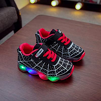 Staron Spider Web Kids LED Light Up Shoes Girls Boys Led Casual Flashing Sneaker Shoes for Toddler Little Kid Children: Clothing