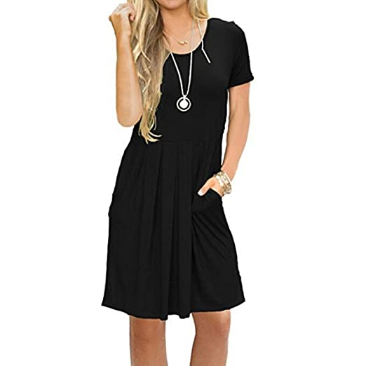 Creazrise Womens Summer Short Sleeve Dress Flowy Pockets Loose Swing