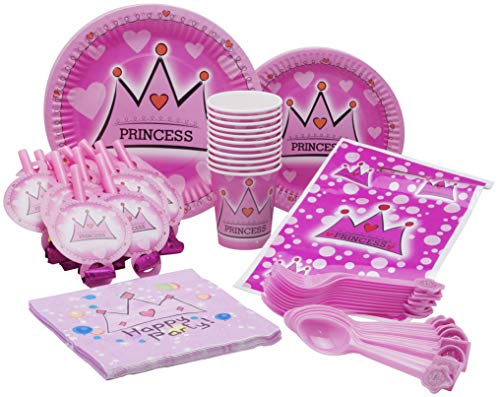 Little Princess Theme Party Pack - Disposable Paper Plates, Cups, Napkins, Forks, Gift Bags and Party Blowers - Serves 10