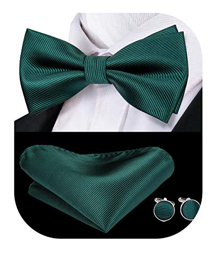 - Dubulle Mens Silk Green Bow Tie and Pocket Square Hankerchief Cufflinks for Holiday
