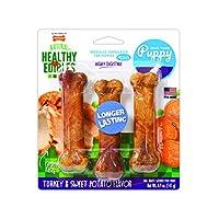 Golosinas masticables para cachorros Nylabone Healthy Edibles, pavo y camote, regulares, 3 unidades