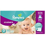 Pampers Cruisers Disposable Diapers Size 3, 180 Count, ONE MONTH SUPPLY