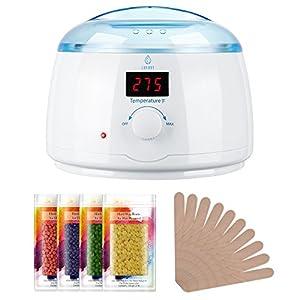 Lavany Wax Warmer, Hair Removal Waxing Kit Pearl Wax Machine Hot Wax Heater with 14 oz Removable Wax Pot, 4 Packs 100g Hard Wax Beans & 5 Wax Applicator Sticks