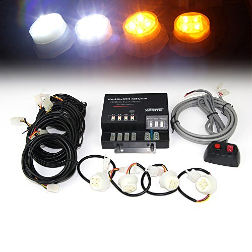Xprite 120W 4 LED Bulbs Hide-A-Way Emergency Hazard Warning Strobe Lights - White & Yellow / Amber