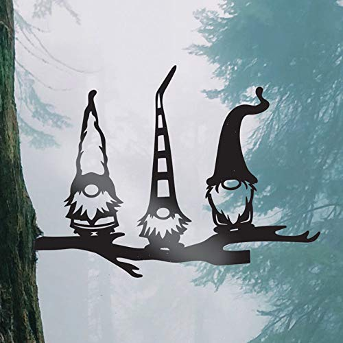 Easter Steel Branch Gnomes 2021 Decoration Garden Design Steel Silhouette with Black Hollowed Out Steel Garden Gnomes Statue Yard Art Indoor Outdoor Ornament 11×5.11inches
