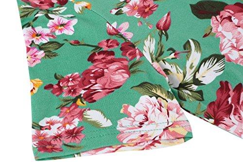 Robe Vintage Hotouch Courte Vert Crayon Midi Fit Manche Slim Fleur Femme Uxn7T