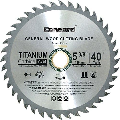 Laminate Cutting Blades - Concord Blades WCB0538T040HP 5-3/8-Inch 40 Teeth TCT General Purpose Hard & Soft Wood Saw Blade