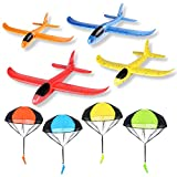 R HORSE 8 Packs Glider Airplanes with Parachutes Toy Set 14.5Inch Manual Throwing Foam Planes Tangle Free Throwing Parachutes Outdoor Hand Throw Soldiers for Party Favors(4 Airplanes + 4 Parachutes)