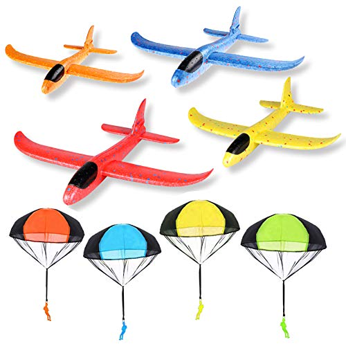 R HORSE 14.5inch Foam Airplanes + Parachute Toy Set, Manual Throwing Outdoor Airplanes Toys with Tangle Free Throwing Toy Parachute Hand Throw Soldiers Outdoor Flying Toys(4 Airplanes + 4 Parachutes)