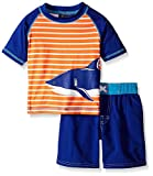 iXtreme Baby Stripe with Shark Rash Guard Set, Orange, 24 Months