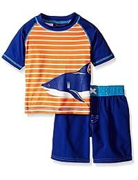 iXtreme Baby Boys' Stripe with Shark Rash Guard Set
