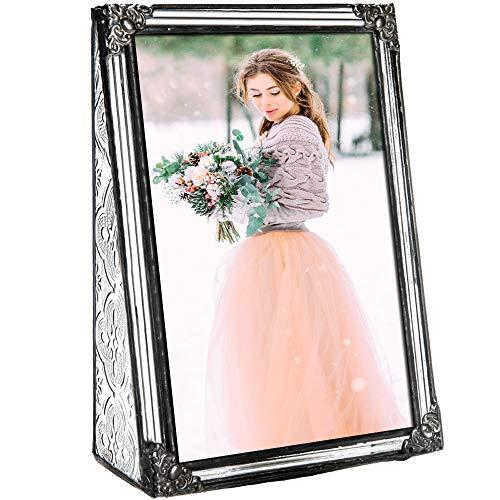 (J Devlin Pic 360-46V Vintage Glass Picture Frame Tabletop 4 x 6 Vertical Photo Frame Keepsake)
