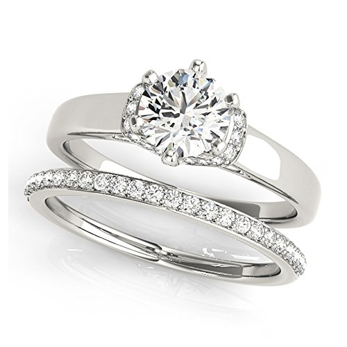 14K White Gold Unique Wedding Diamond Bridal Set Style MT51042