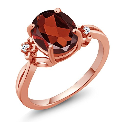 2.53 Ct Oval Red Garnet White Created Sapphire 14K Rose Gold Ring (Ring Size 7) (Red Ring Designer Gold)