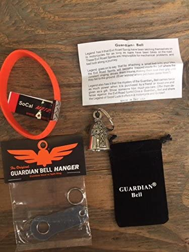 Guardian Bell Celtic Cross Complete Motorcycle KIT W//Hanger /& Wristband