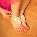 Little triangle baby barefoot sandals in IVORY, Girls foot jewelry, Toddler size 5-10