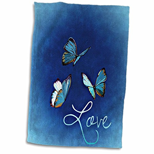 (3D Rose Love Style with Butterfly and Blue Background Hand Towel, 15