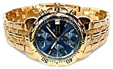 Oskar Emil Gents Caesium 1119G 23K Gold Chronograph Sports Watch with Blue Dial RRP $495