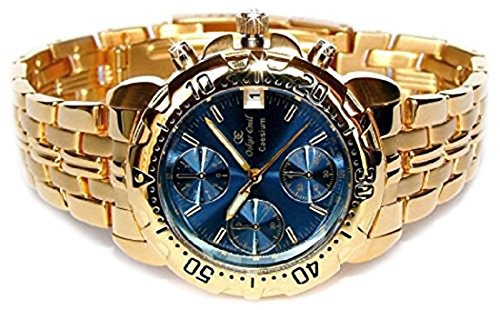 Oskar Emil Gents Caesium 1119G 23K Gold Chronograph Sports Watch with Blue Dial RRP - Elegance Chronograph