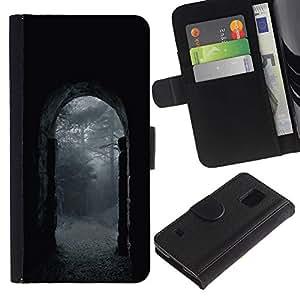LASTONE PHONE CASE / Lujo Billetera de Cuero Caso del tirón Titular de la tarjeta Flip Carcasa Funda para Samsung Galaxy S5 V SM-G900 / Night Rain Grey Gate Nature