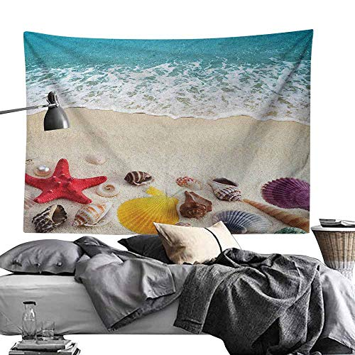 - MaureenAustin Home Living Tapestry,Beach,Sea Shells on Sandy Coast Tropical Island Shore Summertime Travel Vacation Picture, Multicolor Light-Weight Polyester Fabric Wall Decor50 x60