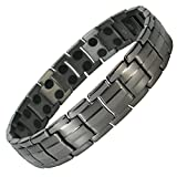 IonTopia Hermes Titanium Magnetic Therapy Bracelet Gunmetal XL with Free Links Removal Tool