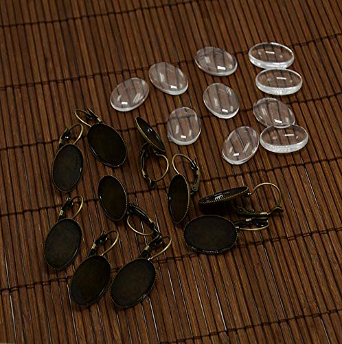 PH PandaHall 10 Sets Cabochon Hoop Earrings Clear Oval Glass Cabochon Cover Nickel Free Antique Bronze Brass for DIY Lever Back Hoop Earring Jewelry Making]()