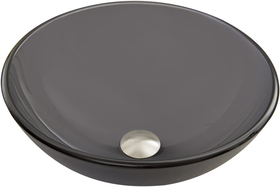 VIGO VG07062 Glass Above counter Round Bathroom Sink, 16.5 x 16.5 x 6 inches, Frosted Black