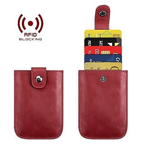 RFID Pocket Wallet Minimalist Super Thin 5 Card Wallet - Credit Card Holder Front Pocket Wallet for Men Women (Blue) Padike