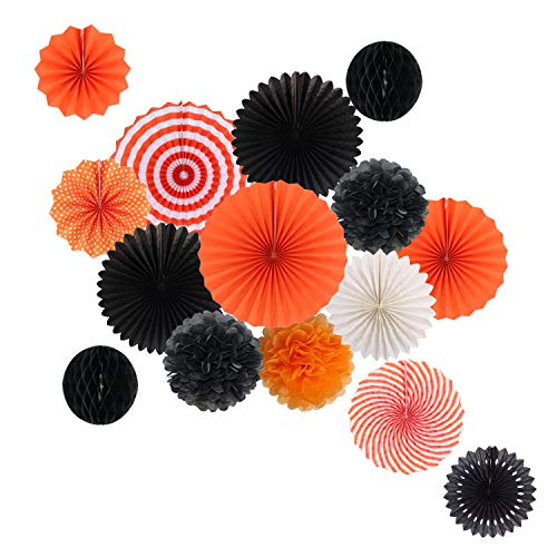 Hanging Party Decorations Set Tissue Paper Fan Paper Pom Poms Flowers and Honeycomb Ball for Halloween Thanksgiving Birthday Engagement Party Decor Black Orange Kit