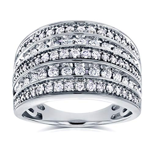 (Diamond Anniversary Ring Wide Multi-Row Band 1ct TDW 10k White Gold, Size 7.5, White Gold)