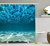 water photo - Ambesonne Ocean Decor Collection, Bright Gravelly Bottom and Wavy Surface Tropical Seascape Abyss Underwater Picture, Polyester Fabric Bathroom Shower Curtain, Blue Aqua Ivory