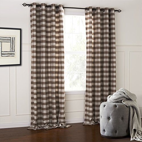 (IYUEGO Modern Classic Brown And White Plaid Jacquard Eco-friendly Grommet Top Curtains Draperies With Multi Size Custom 42