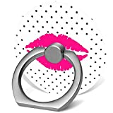 360°Rotation Grip Mobile Phone Finger Ring Holder for All Smartphone and Tablets with Car Mount Stand - Black Polka dots with hot Pink Lips