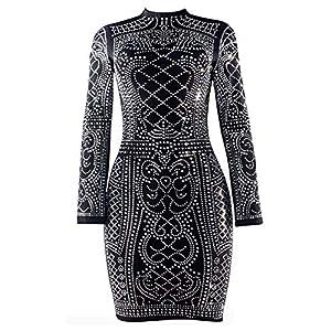 VWIWV Women Retro Luxurious Long Sleeve Mini Dress Sequin Bodycon Party Mini Dress with Zipper