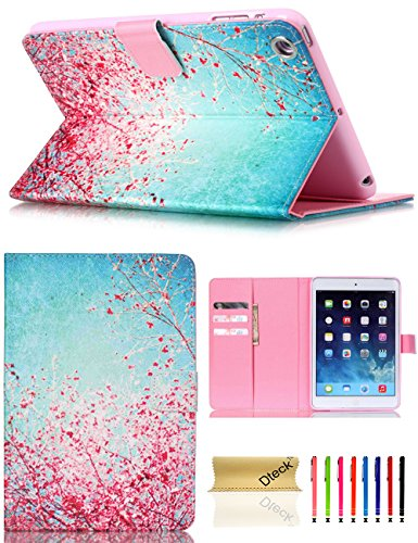 iPad Mini Case, Mini 2/3 Case, Dteck Slim Fit PU Leather Flip Stand Wallet Case with Auto Sleep/Wake Function Smart Cover for Apple iPad Mini 1 2 3 (Red Plum Blossom)