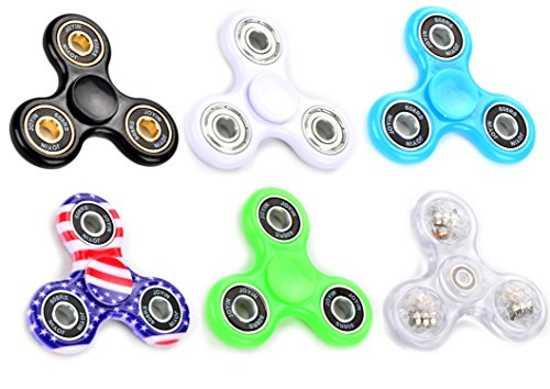 6 Pack Fidget Spinner Toy Included Multi-Colored LED, 2 Glow-In-The-Dark, American Flag, Black and White Premium Stress Reducer Tri-Spinner for Party Favor and School Classroom Reward by Joyin Toy